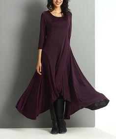 Look at this #zulilyfind! Plum Scoop Neck Sidetail Maxi Dress by Reborn Collection #zulilyfinds