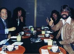 Freddie and Brian in Japan, 1975 with those happy dudes. #freddiemercury #brianmay #queen #queenband #music #musicislife #wednesdayvibes