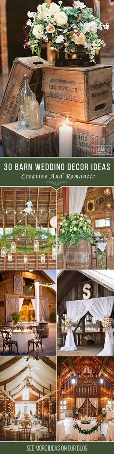 30 Romantic Barn Wedding Decorations ❤ Create a romantic barn wedding decorations, spend some money for certains in rustic style, pay attention to lightening and of course use straw bale seating. See more: http://www.weddingforward.com/barn-wedding-decorations/ ‎#rustic #wedding