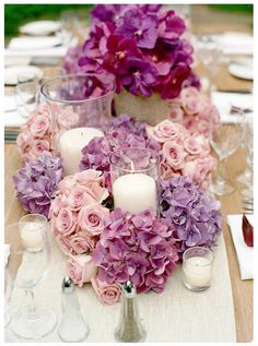 Candles and floral low centerpieces