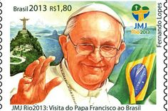 Brazillian stamp of Pope Francis I