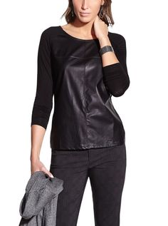 Faux Leather T-Shirt