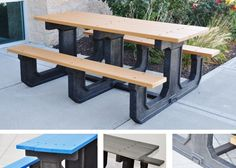 Noahs Park and Playgrounds - Park Place Picnic Table - Check out the various color styles and sizes! www.noahsplay.com