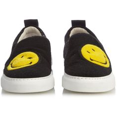 Joshua Sanders Smiley felt slip-on trainers ($179) ❤ liked on Polyvore featuring shoes, sneakers, joshua sanders, black trainers, kohl shoes, retro shoes, black shoes and retro sneakers