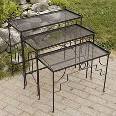 Achla Designs Tables Rectangular Wrought Iron Nesting Tables (Set of Roman Bronze Brown Outdoor Tables, Indoor Outdoor, Outdoor Decor, Outdoor Dining, Patio Side Table, Side Tables, Dining Set For Sale, Dining Sets, Sectional Sofa With Recliner