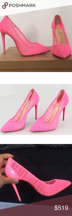 Be my valentine 💕 follies Draperia 100mm 37.5. Size 37.5, brand new in box with one dust bag, add a pop of color to any outfits :) price is FIRM on posh!! Christian Louboutin Shoes Heels