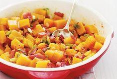 Dýně z pánve - Recepty.cz - On-line kuchařka Bacon Recipes, Veggie Recipes, Meat Lovers, Pumpkin Recipes, Pumpkin Pumpkin, Butternut Squash, Fruit Salad, Side Dishes, Meals