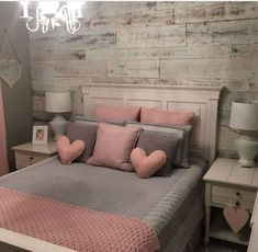 43 cute and girly bedroom decorating tips for girl 35 Pink Bedroom Decor, Pink Bedrooms, Apartment Bedroom Decor, Cozy Bedroom, Bedroom Inspo, Bedroom Bed, Master Bedroom, Bedroom Furniture, Bedroom Suites