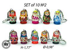 Matryoshka doll Сute keychains Nesting dolls keychain Wooden keychain Babushka doll Keychains for women Cheap keychains Russian dolls Set 10