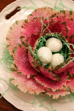 pink cabbage filled with eggs...