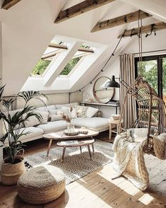 A beautiful boho rustic room inspiration. How cool is this swing chair? Compliments this entire space so nicely. Living Room Decor, Living Spaces, Bedroom Decor, Design Bedroom, Sweet Home, Budget Home Decorating, Home Decor Store, Cozy House, Home And Living