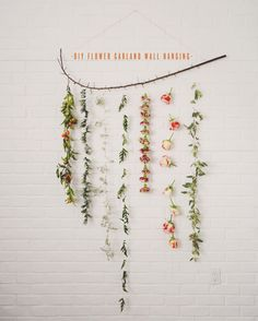 to update my branch from my wedding! DIY FLOWER GARLAND WALL HANGING | The Kitchy Kitchen