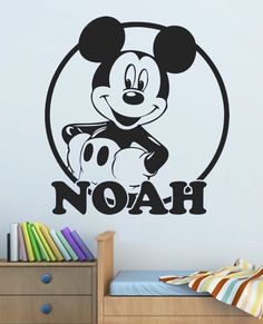 MICKEY MOUSE Personalised wall sticker decal childrens / kids nursery boys bedroom