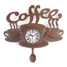 Coffee Pendulum Clock from Kirkland's I Love Coffee, My Coffee, Coffee Break, Starbucks Coffee, Black Coffee, Coffee Bean Art, Ninja Coffee, Cheap Coffee, Coffee Corner