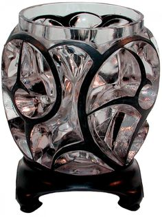 """R. LALIQUE__ Vase """"Tourbillons"""", in clear glass with black enamel, circa 1926"""