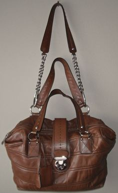 c06011affd5 Details about DOLCE & GABBANA **MISS VERY SEXY** Brown Lambskin Leather Tote  / Shoulder Purse