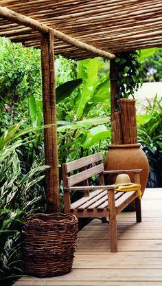 Casa Nozinho's open door wooden patio. UXUA, Trancoso, Brazil