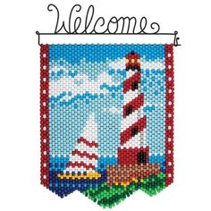 Choose from a wide selection of beaded banner kits from Herrschners! Pony Bead Patterns, Peyote Patterns, Beading Patterns, Beaded Crafts, Beaded Ornaments, Barn Quilt Designs, Quilting Designs, Chicken Scratch Embroidery, Beaded Banners