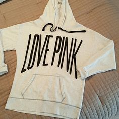 Victoria Secret PINK Hood Sweatshirt Light Heather Gray PINK Hood Sweatshirt. Front pocket and draw string hood. Plain on back. Victoria's Secret Tops Sweatshirts & Hoodies