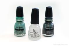 New China Glaze Tranzitions polishes. They are colors that react when you apply a top coat....meaning they change shades. Now you can use fewer bottles of polish to create cute nail art.
