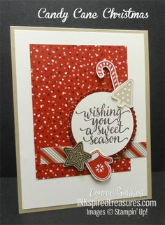 I used Candy Cane Christmas stamp set for the Create with Connie and Mary challenge this week! Stampin' Up!, #stampinup, #inkspiredtreasures, created by Connie Babbert