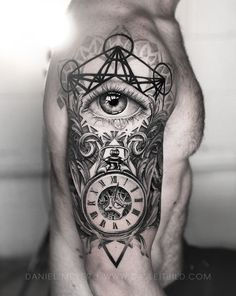 Eye of the providence combined with an antique style watch tattoo to represent Memento Mori. Tattooed by Daniel Meyer in Los Angeles California. Work Material used: Fine Line Tattoos, Cool Tattoos, Daniel Meyer, Lush, Sacred Geometry Tattoo, Fibonacci Spiral, Watch Tattoos, Dot Work Tattoo, My Face Book