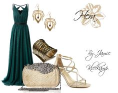 A formal look inspired by the greek goddess: Hera. Fans of Greek Mythology or the Percy Jackson series would like this look