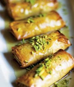 Phyllo Pastry with Nuts and Honey Syrup Recipe (I'd use maple sugar instead of the superfine sugar in the recipe.)