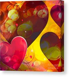 Abstract Canvas Print featuring the digital art Heart Reaction by Caroline Gilmore