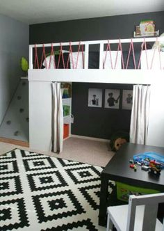 Loft bed with rock wall