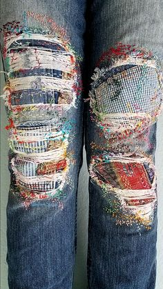 Boro embroidery patched jeans, distress girlfriend jeans, patchwork denim
