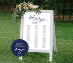 Editable PDF Seating Chart Navy Color Wedding Seating Chart Template DIY Seating Board Table Find Your Seat Printable Sign #DP120_01 by DreamPrintable on Etsy