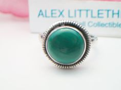 vintage Malachite ring .925 Sterling Silver by ALEXLITTLETHINGS, $24.00