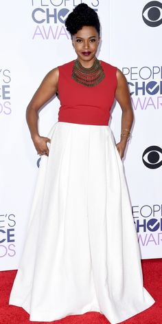 See All the Best Looks from the 2016 People's Choice Awards Red Carpet - Jerrika Hinton  - from InStyle.com