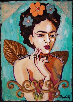 Frida Angel by Spring 6x8 ORIGINAL PAINTING by windyspringsart, $35.00