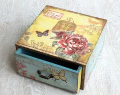 Cottage Chic jewelry drawer, decoupage drawer, shabby chic home decoration…
