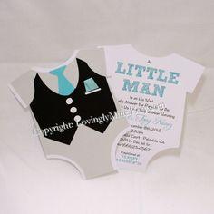 Little Man Tuxedo Unique OnePiece Shape Invitations - Black, White, Grey Tiffany Blue - Set of 6 on Etsy, $18.00