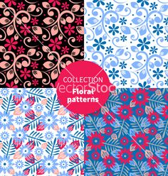 Seamless floral pattern set vector - by pimonova on VectorStock®