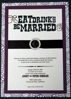 Eat, Drink, And Be Married   Post Wedding Invitations   Bling, Bling