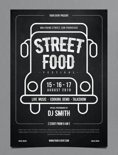 Street Food Festival Flyer Template PSD Template Flyer, Flyer Design Templates, Festival Flyer, Festival Posters, Streetfood Festival, Street Food Market, Identity, Food Design, Design Design