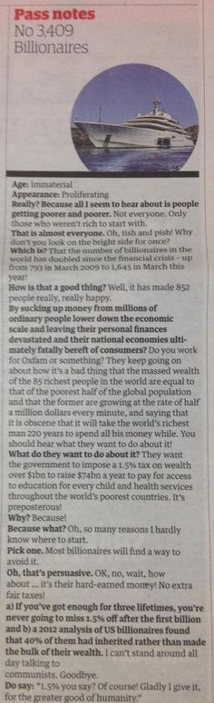Guardian Pass notes: Billionaires. http://www.theguardian.com/money/blog/2014/nov/02/how-many-billionaires-in-the-world … #evenitup #inequality