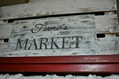 """My Old Wooden Market Sign...NOT! How this clever person made her own """"wooden"""" sign using cardboard and a DIY wax paper transfer.  So neat!"""