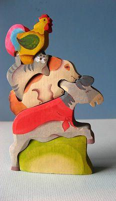 Bremen Musicians Wooden Puzzle Handcrafted Waldorf Toy | eBay