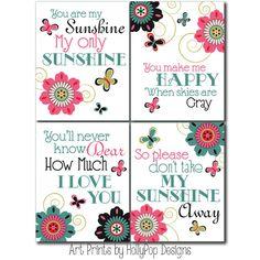 Teen Wall Decor-Girls Room Art Prints-Floral Wall Decor-You are My Sunshine Pink Teal Black-Girl Nursery Bedroom