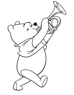 Winnie The Pooh Playing Trumpet Instrument Coloring Page