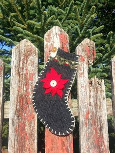 Upcycled Sweater Christmas Poinsettias Stocking Wool by NifteeNini