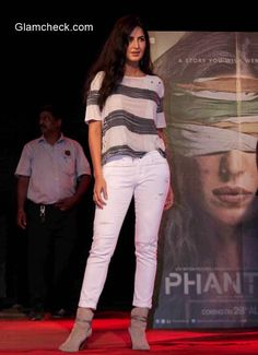 Katrina Kaif at Umang 2015 -Paige Denim, striped top from Raquel Allegra and suede ankle booties from All Saints