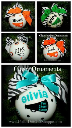 Cheerleader Gifts for Christmas! We have all team colors to create the perfect gift for your cheerleader! Celebrate all of their competitions and accomplishments from this year with an ornament!
