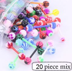 """20 Pieces of 14g 5/8"""" Acrylic Ball Flexible PTFE Barbells - Tongue Jewelry MIX :: Tongue Ring Body Jewelry Deals :: Deals - Sales :: Painful Pleasures, Inc. $16.00"""