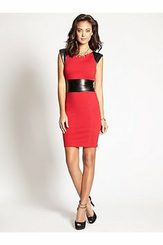 Cap-Sleeve Ponte and Faux-Leather Bodycon Dress